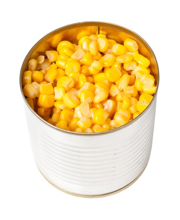 tinned: Canned sweet corn isolated on white background