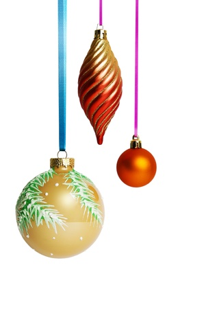 Christmas balls hanging on ribbon photo