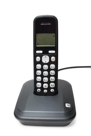 touchtone: Modern black digital cordless phone isolated on the white background