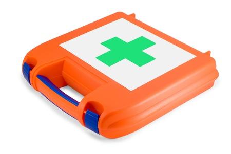 firstaid: Kit de primeros auxilios pl�stico aislado en el fondo blanco Foto de archivo