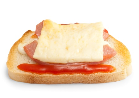 sandwiche: Hot sandwiche with cheese, ketchup, mayonnaise and sausage