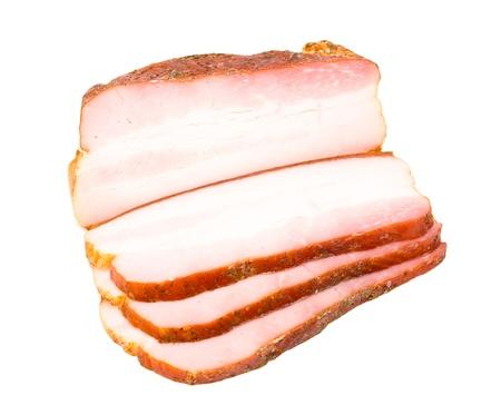 Bacon cut slice isolated on white background