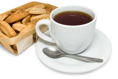 spliced: Tea with cookies in basket isolated on white background