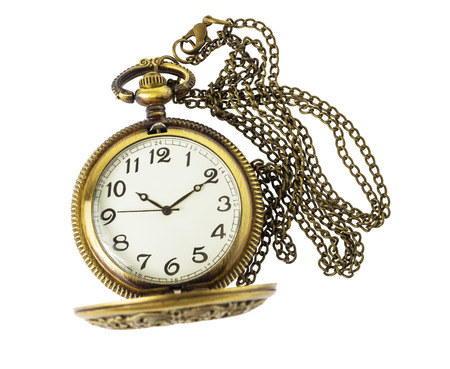 horologe: Golden pocket watch isolated on white background