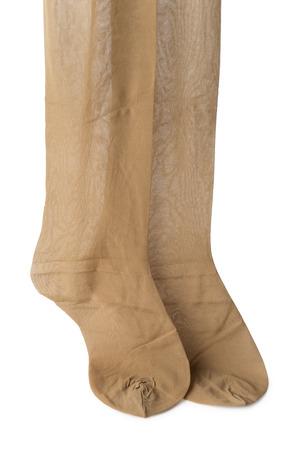 스타킹의 쌍 (팬티 스타킹) 살색. 흰색 배경에 고립