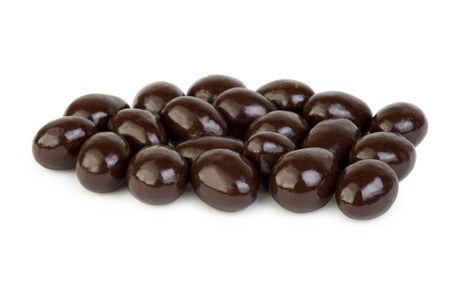 dragee: Dragee - nuts in chocolate glaze isolated on white background