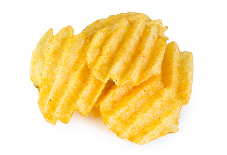 crinkle: Pile of potato chips isolated on white background
