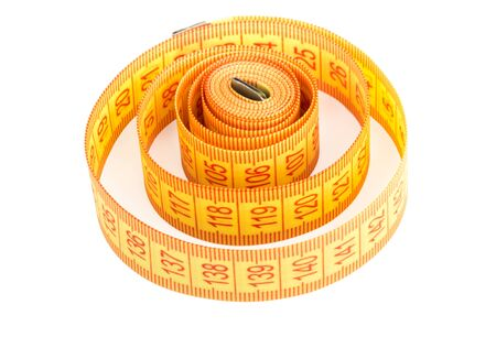 sartorial: Yellow measuring tape isolated on white background