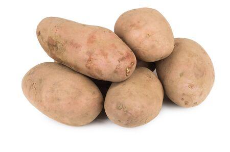 unwashed: Heap of unwashed raw potatoes isolated on white background