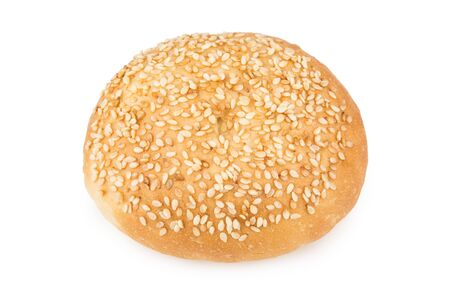 sprinkled: Appetizing bun sprinkled with sesame seeds isolated on white background