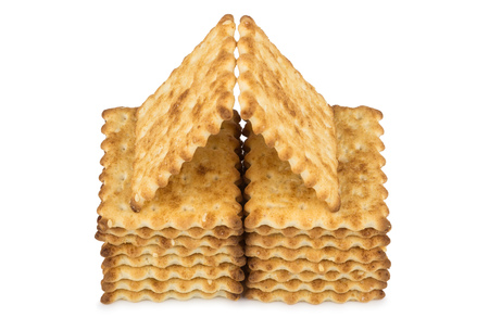 sesame cracker: House built of sweet biscuits with sesame seeds isolated on white background