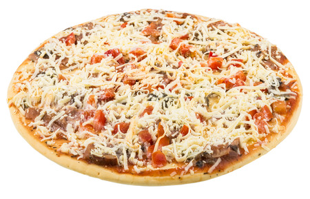 semifinished: Semi-finished frozen pizza isolated on white background
