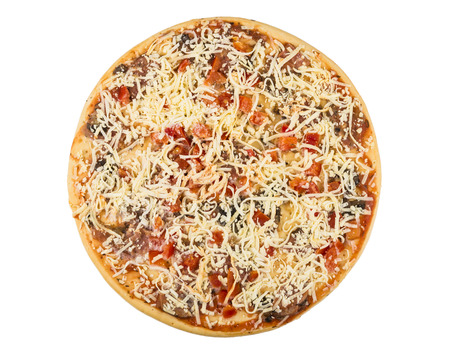 Semi-finished frozen pizza isolated on white background, top view