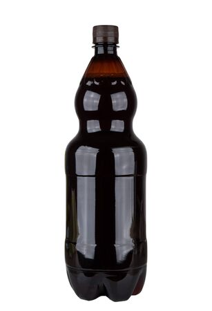 nonalcoholic beer: Plastic bottle of russian kvass isolated on white background