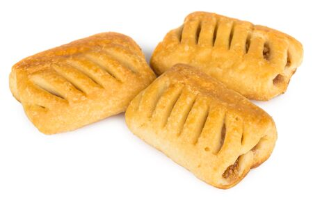 isilated: Three small strudels isilated on white background Stock Photo