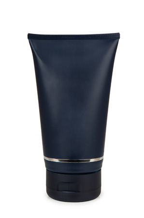 aftershave: Plastic blue tube of gel for shaving isolated on white background