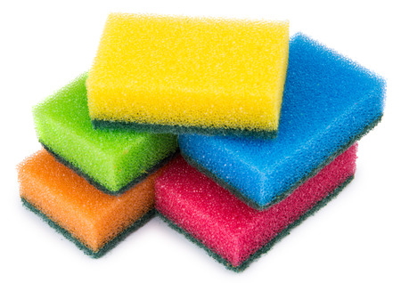 abrasive: Colorful sponge foam with abrasive surface isolated on white background