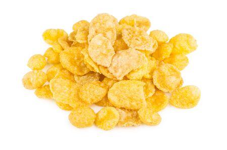 cornflakes: Heap of cornflakes isolated on white background