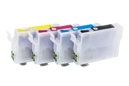 inkjet: Row of empty refillable cartridges for colour inkjet printer isolated on white background