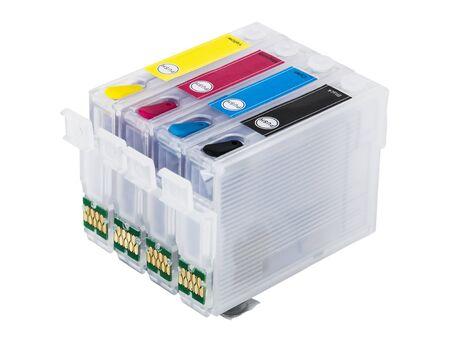 inkjet printer: Empty refillable cartridges for colour inkjet printer isolated on white background Stock Photo