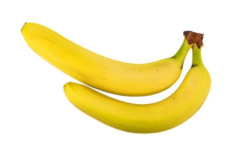 banana yellow: Two yellow bananas isolated on white background Stock Photo