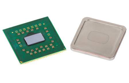 disassembled: Disassembled CPU, metallic cover is removed. Isolated on white background Stock Photo