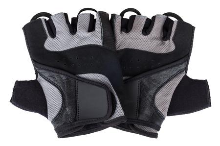 fingerless gloves: Pair of training gloves isolated on white background Stock Photo