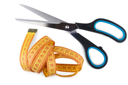 sartorial: Sartorial scissors and tape-line isolated on white background