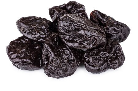 heap: Heap of prunes isolated on white background