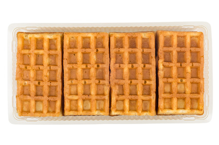 viennese: Viennese waffles in a plastic container isolated on white background
