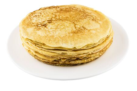 rubicund: Stack of russian pancakes in glass dish isolated on white background Stock Photo