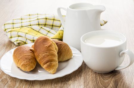 Croissants in plate, jug and cup of milk, checkered napkin on wooden table