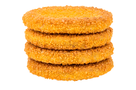 Stack of fried cutlets isolated on white background