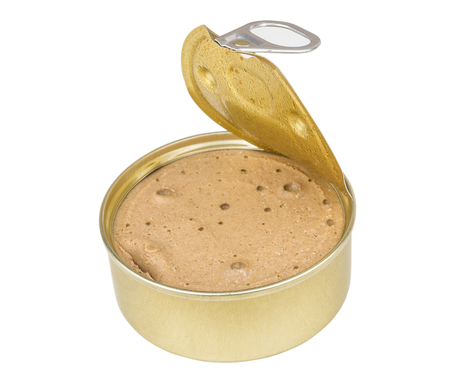 Open metallic tin jar with liver paste isolated on white background
