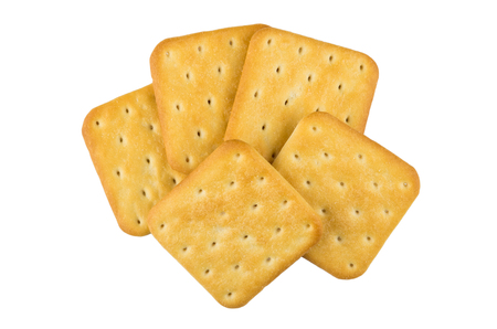 Heap of crackers isolated on white background. Top view