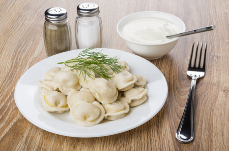 Plate with boiled dumpling, bowl with sour cream, salt, pepper and fork on wooden table Reklamní fotografie
