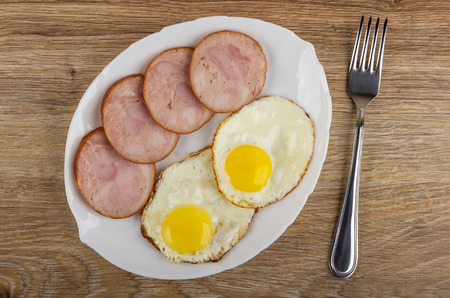 Fried eggs and pieces of chicken sausages in white plate, fork on wooden table. Top view