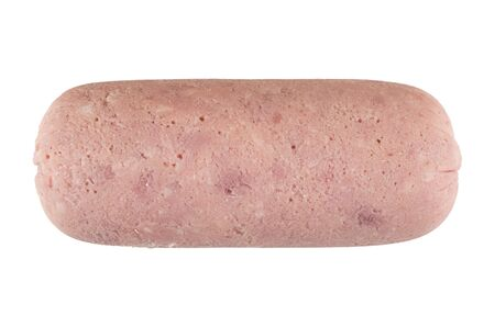 Peeled whole ham sausage isolated on white background. Top view