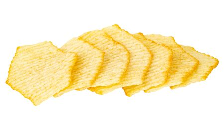 Row of wavy potato chips isolated on white background Фото со стока