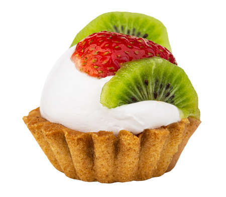 Tartlet with cream, strawberry and kiwi isolated on white background. Side view