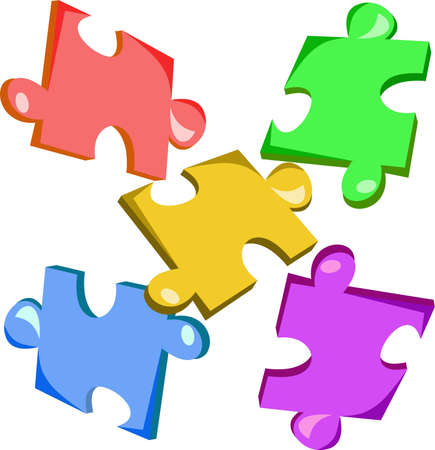 Colorful pieces of puzzle