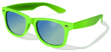 Plastic green sunglasses separated at white background Stock Photo