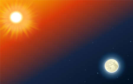 Moon and Sun at the gradient background Stock Photo