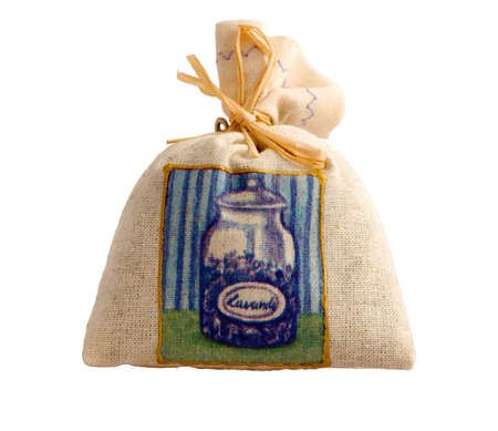 Canvas bag of dried lavender with stitched illustration