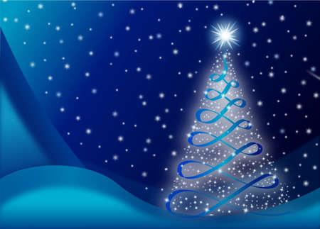 christmass tree: Christmas card with christmass tree and stars and snowflakes