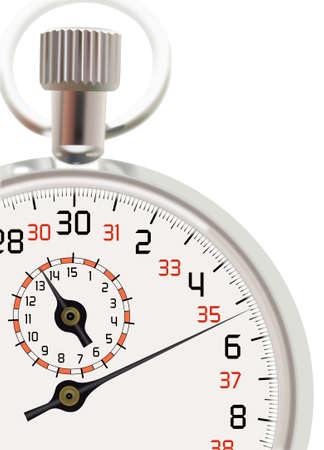 interval: Analog stopwatch cut out at white background