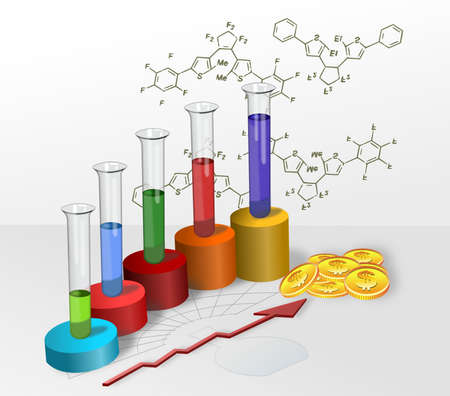 Colored cylinders progress chart of chemical research and development