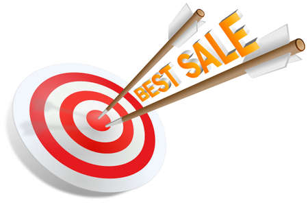 Two arrows jabbed in the dartboard with Best sale writing