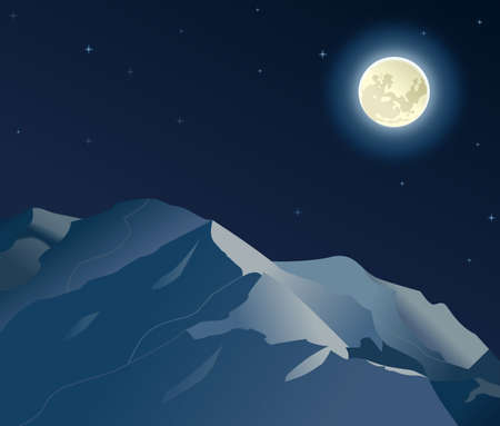 Dark night scenery with Moon and Mountains