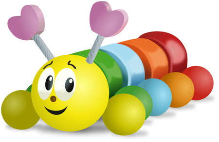 Colorful smiling wooden caterpillar toy on wheels Stock Photo